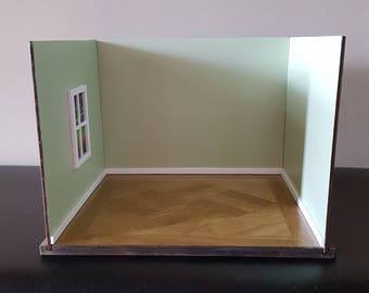 1:12 scale Room Box/ Doll Room Box/ Diorama Box/ unique slotted room box/ 2 or 3 wall box/ miniature diorama/ empty room box/ doll house