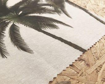 Curtain Fabric- Tropical fabric- Palm Tree Fabric- Okeo-Tex- Green and White fabric- Curtains Fabric- Tropical leaves- Beach- Trees