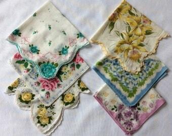 6 vintage flowered hankies