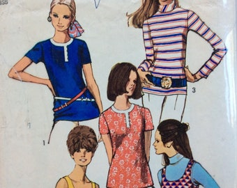 Simplicity 8834 misses blouses & tank top size 14 bust 36 vintage 1970's sewing pattern