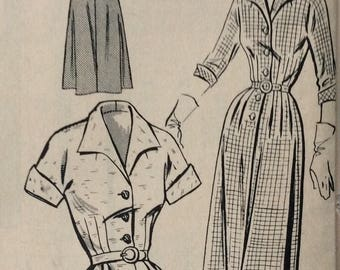 Mail order 2853 misses shirtwaist dress size 14 bust 32 vintage 1950's sewing pattern  Factory folds