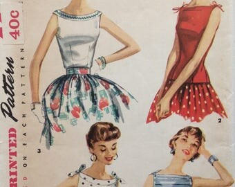 Simplicity 1201 junior misses blouses size 15 bust 33 vintage 1950's sewing pattern