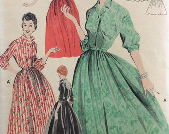 Butterick 8078 misses shirtwaist dress size 18 bust 38 vintage 1950's sewing pattern  Uncut  Factory folds