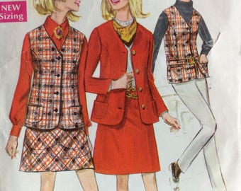 Simplicity 7794 misses skirt, jacket and vest size 14 bust 36 vintage 1960's sewing pattern