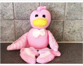 Hand Knitted Ducks, Newborn Baby Gift , CE tested, Christening Gift, Knitted Ducks, Knitted Duck with wings, Newborn Bootees , UK Seller,