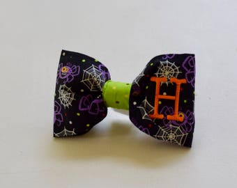 Halloween Spiders Black Dog Bow Tie  |  Personalized Bowtie  |  Custom Gift by Three Spoiled Dogs