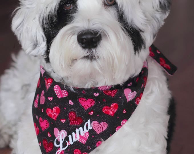 Featured listing image: Personalized Valentine Dog Bandana     XO's Hearts Personalized Pet Scarf    Reversible Custom Gift by Three Spoiled Dogs