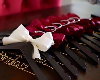Set of 9 personalized hanger, wedding hanger, bridal hanger bridal gift, customized hanger, bridesmaid hanger