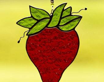 Stained glass strawberry suncatcher, stain glass strawberry ornament, glass strawberries, strawberry flower bead, red fruit, glass fruit