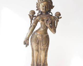 20th Century Tibetan Gilt Bronze Standing Maitreya Buddha Statue