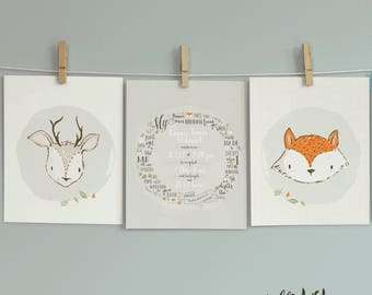 Birth Statistics Inside Typography Wreath of Psalm 139:15,16. Set of 3 Prints. Woodland Animals. Printable or Printed.