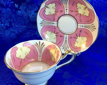 Royal Albert Unusal Pink and Gold Bone China Tea Cup and Saucer England