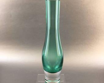 """9.5"""" Green Kosta Boda Vintage Swedish Crystal Vase Sweden"""