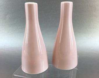 England Salt and Pepper Shakers Pink Vintage Mid Century Pottery