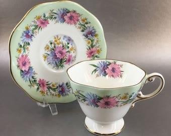 Foley Cornflower Mint Green and Floral Vintage Bone China Teacup England
