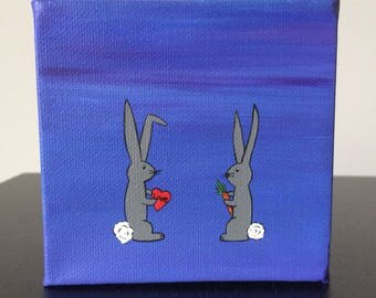 """Bunny Love 4""""x4"""" acrylic painting over a purple background"""