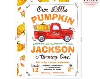 Pumpkin Invitation Pumpkin 1st Birthday Invitation Pumpkin Truck Invitation Watercolor PumpkinTruck Invitation Pumpkin 1st Birthday Party