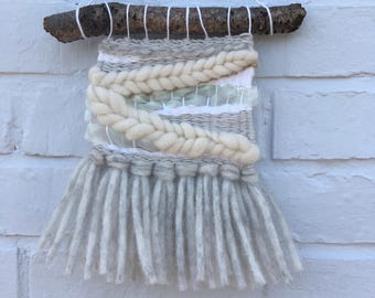 Woven wall hanging mini cream neutral  tapestry