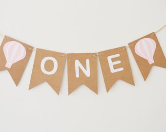 First Birthday Hot Air Balloon Decoration, One Banner, 1st Party Bunting, Girls Birthday, All Ages Available