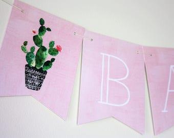 Cactus Banner. Cactus Theme. Fiesta Banner. Fiesta Theme. Baby Banner. Bridal Shower. First Birthday. Baby Shower. Custom Banner. Pink.