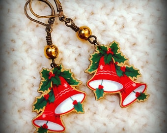 Bell Earrings - Christmas Bells - Bell Jewelry - Holiday Jewelry - Christmas Party - Christmas Fashion - Vintage Kitsch - Shrink Plastic Art