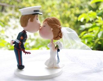 Wedding cake topper. US Marine Corps groom - Iron man fan. Handmade. Fully customizable. Unique keepsake