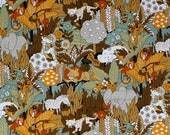 RESERVED House n Home vintage animal fabric earth tones brown green orange white elephants zebras monkeys lions hippos trees leaves