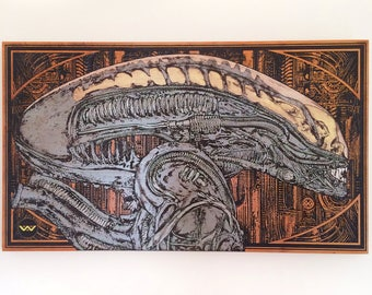 Alien Head, Xenomorph, Alien Movie, Husband Birthday Gift, Birthday Gifts for Boyfriend, Engraved on Wood, Giger Art, Alien Art on Wood