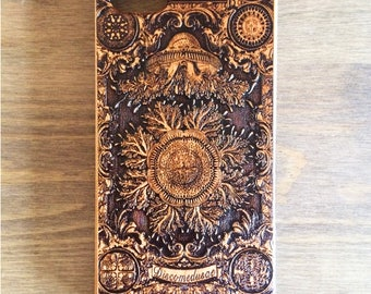 Ernst Haeckel, Jellyfish Art Engraved iPhone 6S Case,Samsung Galaxy S8 S7 Edge Case, Smartphone Case, Real Wood Phone Case,Galaxy S6,S8 Plus