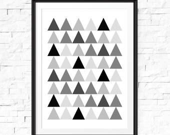 Triangle wall art, Modern art, Downloadable art, Triangle print, Geometric wall art, Printable wall art, Triangle printable, Digital Art