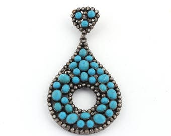 Mega sale 1 PC Pave Diamond With Turquoise 925 Sterling Silver Oxidized Pear Shaped Pendant 62mmx38mm PD021