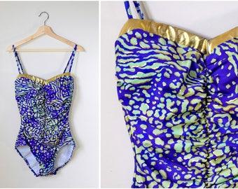 vtg 80s blue green gold animal print swimsuit | medium | gathered One Piece Bathing Suit | Resort Wear | Beachwear | 90s new wave Swimwear
