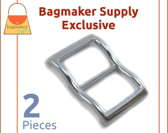 1 Inch Large Mouth Curved Slide Buckles for Thick Straps, Nickel Finish, 2 Pack, Great For Leather, Handbag Hardware, BKS-AA126