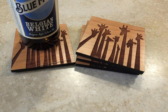 Wooden Giraffe Coasters Engraved on Cherry Wood. Housewarming Gift-Home Decor-Home Bar Decor-Birthday Gift-Wedding Gift