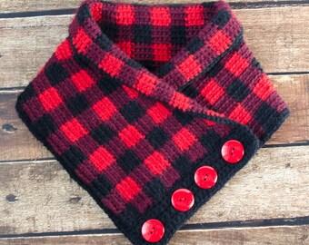 Crochet Cowl Pattern-Instant Download-Buffalo Plaid Cowl Pattern-Neckwarmer-Button Scarf-Crochet Pattern-Instant Download PDF