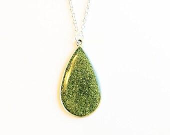 Olive green glitter pendant necklace