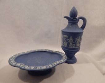 """Vintage Avon Pedestal Soap Dish and Bath Oil Decanter """"Avonshire Blue"""""""
