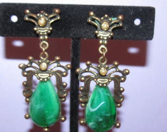Vintage Unsigned Selro Green Cab Earrings with Seed Pearls - Antique Metal