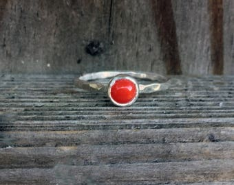 Red Coral Ring - Stacking Ring - Red Ring - Sterling Silver - Petite Stacking Ring - Summer - Coral Ring - Stacking Rings - Gemstone Rings