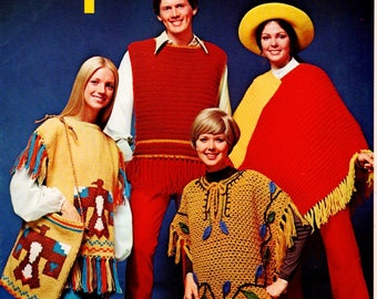 70's PonchosKnit, Crochet Pattern Leaflet Columbia Minerva 2520 Men Women Thunderbird Bag Western Aran Hippie