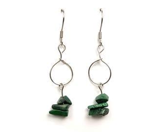 Handmade earrings, malachite jewelry, green stone earrings, natural stone jewelry, green malachite earrings, handmade jewelry, pagan ylic