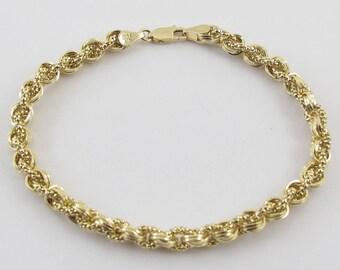 "14k Yellow Gold Rolo Link Braided Popcorn Charm Bracelet 7 1/2""  5.9  grams"