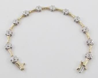 "14k Yellow And White Gold Flower Design Diamond Tennis Bracelet 7"" 0.60 carat"