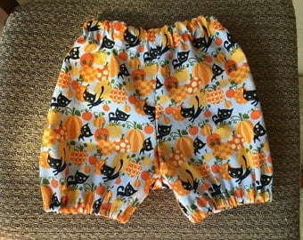 Pumpkin patch black cat bloomers for halloween shorts