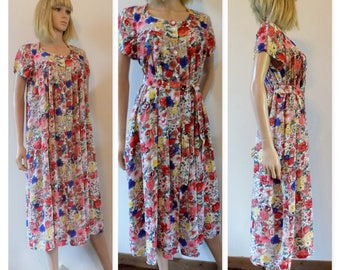 Vintage Rene Derhy floral dress French loose smock pregnancy maternity midi dress size small see measurements