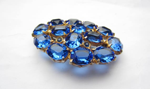 Pools of Cobalt BLUE Czech glass Brooch ~pretty vintage costume jewelry