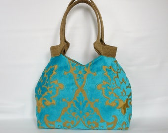 Turquoise tote bag, large aqua handbag, Tapestry bag, Velvet upholstery fabric ,baroque pattern, Turquoise tote bag, boho bag, unique bag