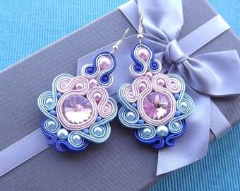 Rivoli Rose &  Shades of Blue  Soutache Earrings