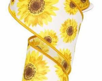 "2.5"" Sunflower Ribbon, Yellow Sunflower Ribbon, Wired Ribbon, Summer Ribbon (10 Yards) - RG01175N7"