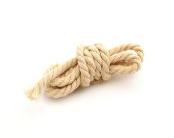 Twisted cotton cord ecru-diameter 5 mm
